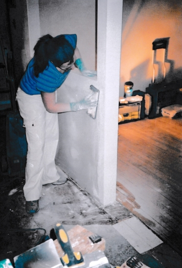 Labrecque renovating one of the couple's revenue properties in the mid-2000s.